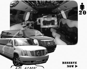 Cadillac Escalade 20 passenger SUV Limousine for rental in Orange County, CA